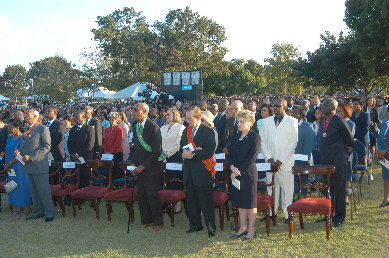 A wide cross section of well wishers to include Former Opposition Leader Edward Seaga and his wife Carla, attended the swearing-in ceremony of Jamaica's fourth native Governor-General, His Excellency The Most Hon. Kenneth Hall and to say goodbye to former Governor-General Sir Howard Cooke at King's House.