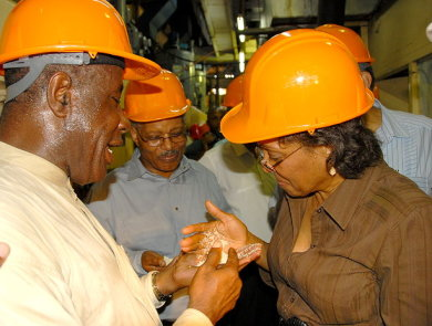 Aston Smith (left), Vice President of Operations at Frome Sugar Factory in Westmoreland, shows Governor General, His Excellency the Most Hon. Professor Kenneth Hall and his wife Rheima Hall, the quality of sugar from the milling process.