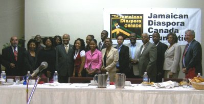Governor General, His Excellency the Most Hon. Professor Kenneth Hall (sixth left) with speakers and attendees at the first Future Leadership Conference organized by the Jamaican Diaspora Canada Foundation in Toronto, Canada, recently.