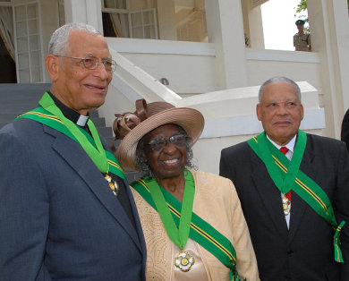 The three outstanding Jamaicans who were conferred with the Order of Jamaica (OJ), at King's House. From left are: Reverend Canon the Hon. Weeville Gordon, Custos of Kingston; Reverend Carmen Stewart, Custos of St. Andrew and the Hon. Headley Cunningham, former Speaker of the House of Representatives.