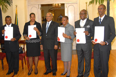 Governor-General, His Excellency, the Most Hon. Professor Sir Kenneth Hall (third left) is in the company of the five judges, who were presented with their instruments of appointment to higher offices within the judiciary, during a swearing-in ceremony held today (Jan. 7) at King's House. From left are: Justices Martin Gayle, Marva McDonald Bishop, Sarah Thompson James, Bertram Morrison and Frank Williams.