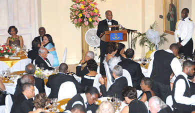 Governor-General, His Excellency the Most Hon. Professor Sir Kenneth Hall (at podium), addresses diplomats, officials, and guests at the Diplomatic Corps dinner, held at King's House on January 29, which formed part of activities marking Diplomatic Week, from January 26 to 30.