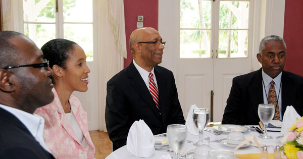 Governor General, His Excellency the Most Honourable Dr Patrick Allen (second right), entertains media personnel attending a luncheon held at Kings House today. Also sitting at the table is (from left) Editor in Chief of The Gleaner, Garfield Grandison, Chief Executive Officer of the Jamaica Information Service, Donna-Marie Rowe, and Executive Editor of the Jamaica Observer and Second Vice President of the Press Association of Jamaica, Vernon Davidson.
