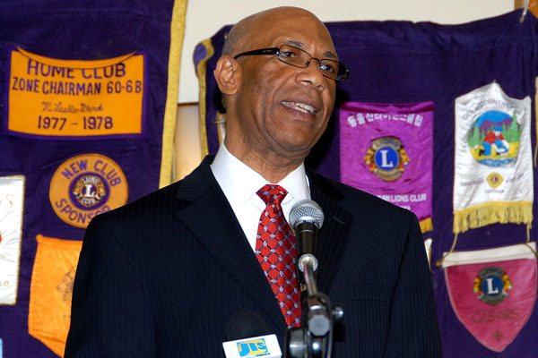 Governor-General, His Excellency, the Most Hon. Dr. Patrick Allen, addresses the weekly meeting of the Lion's Club of Kingston at the Jamaica Pegasus Hotel on Wednesday (March 4), during which he officially launched the organization's activities to mark March as White Cane Month.