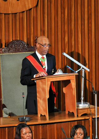 Governor-General, His Excellency the Most. Hon. Dr. Patrick Allen delivering the Throne Speech at the State Opening of Parliament for the 2009/2010 session of Parliament, on April 7.