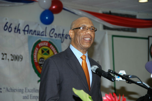 Governor-General, His Excellency the Most Honourable Dr. Patrick Allen giving the main address at the Jamaica Police Federation's 66th Annual Joint Conference, at the Starfish Hotel, in Falmouth, Trelawny, on May 27.