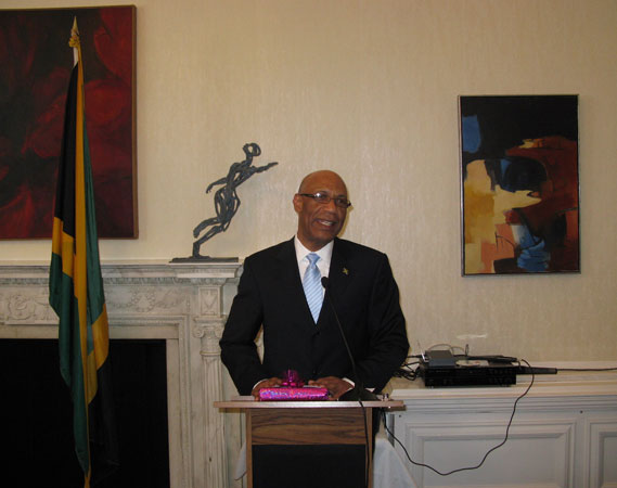 Governor-General, His Excellency the Most Honourable Sir Patrick Allen, addressing guests at a reception, held in his honour at the Jamaican High Commission, in London, today (June 14). The Governor-General was in the United Kingdom to receive his Knighthood from the Queen.