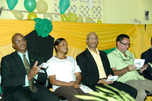 Governor-General, His Excellency the Most Hon. Sir Patrick Allen (second right) and Lady Allen at a civic function, held in their honour at the Fruitful Vale All Age School in Portland, on August 4. Others (from left) are: Mayor of Port Antonio, Councillor Floyd Patterson, and Member of Parliament for Western Portland, Hon. Daryl Vaz.