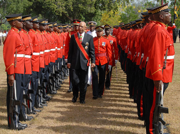 Governor General, His Excellency the Most Hon. Sir Patrick Allen, inspects the Guard of Honour at the national Independence Day Parade held this morning (Aug. 6) at King's House.