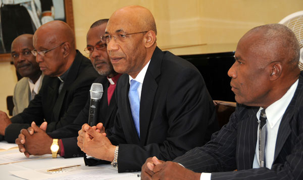 Governor-General, His Excellency the Most Hon Sir Patrick Allen (second right), addressing journalists at a media briefing on the National Prayer Vigil, at King's House Wednesday (December 2). The Vigil will take place at the St. Ann's Bay Baptist Church, St. Ann, on Sunday, December 13. Also in the picture are (left-right) Treasurer of the St. Ann's Bay Ministers' Fraternal, Everton Cummings; Superintendent of the St. Ann's Bay Methodist Church Circuit, Rev Wilfred Alexander; Chairman of the St. Ann's Bay Ministers' Fraternal, Rev Monroe Wisdom; and Chairman of the National Committee for Justice, Unity, Peace and Healing, Rev. Dr. Roy Henry.