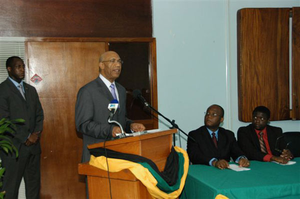 The Governor-General, His Excellency the Most Hon Sir Patrick Allen, addressing the staff of the Cornwall Regional Hospital during a reception for himself and Her Excellency the Most Hon. Lady Allen on Thursday (December 10), during their tour of the institution.