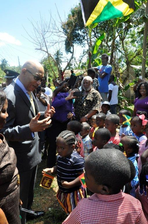 Member of the Duanvale Community including students at the nearby Basic school caqme out to seen His Excellency The Governor-General on the ocosion of his vist to Ms. Vioris Brown on March 9, 2017.