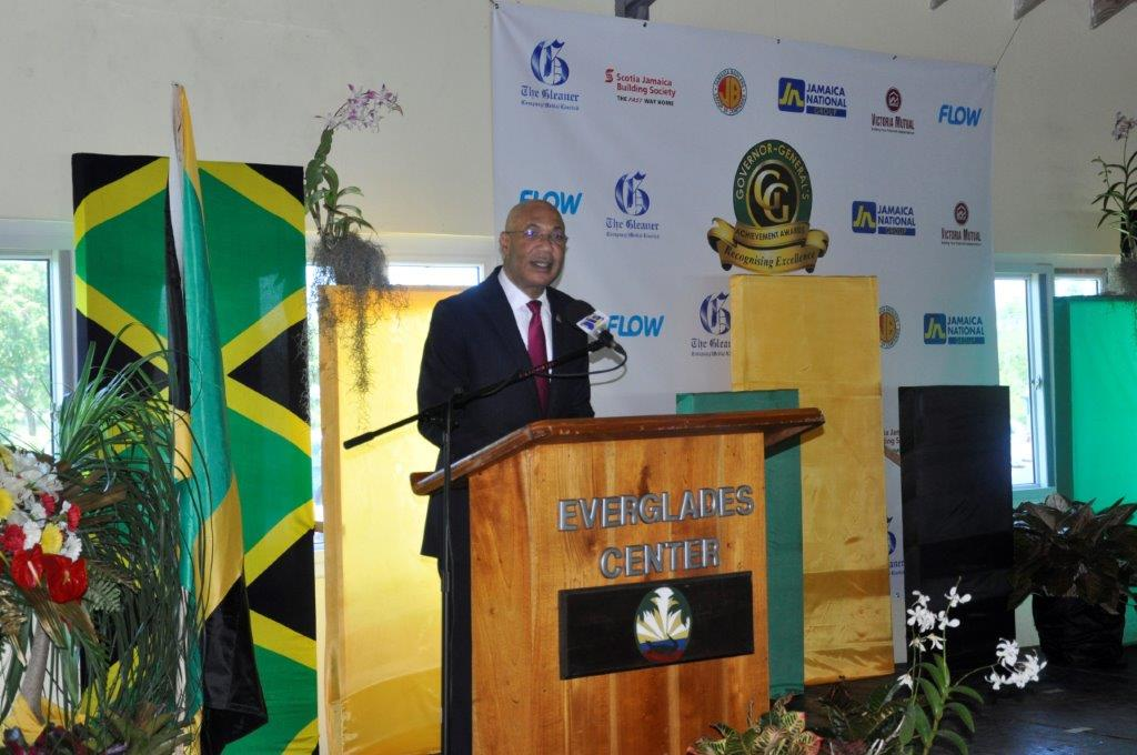 His Excellency the Most Honourable Sir Patrick Allen addressing the 2017 Governor-General Achievement Awards presentation ceremony for the county of Cornwall at the Everglades Centre in Black, River St. Elizabeth on Thursday, April 27.