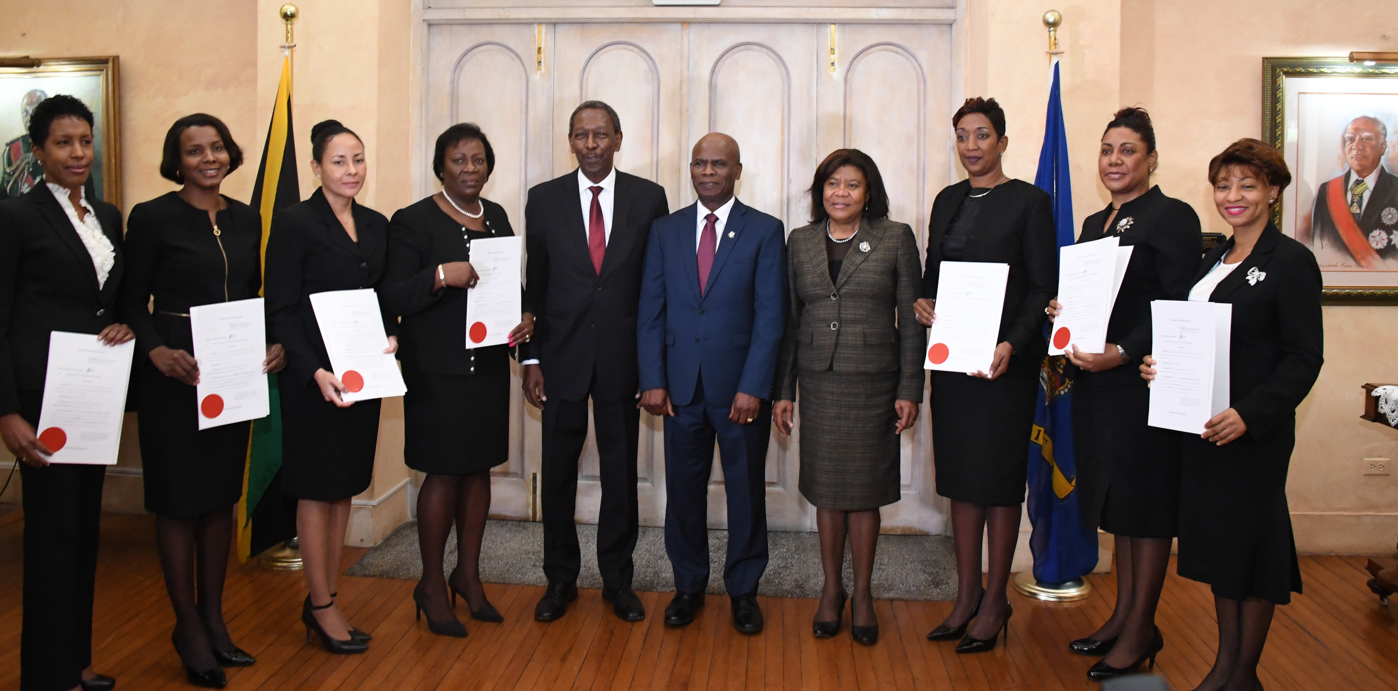 Custos Rotulorum for the parish of Kingston and Deputy Governor-General the Honourable Steadman Fuller (center) is joined by Hon. Mrs. Justice Zaila McCalla – Chief Justice (4th right), the Hon Mr. Justice Denis Morrison - President of the Court of Appeal (5th left) and the judges sworn in to serve in the Supreme Court and as Master-in Chamber, at King's House this morning (January 5, 2018). The Judges from left are Her Honour Mrs. Sonya M. Wint Blair, Her Honour Mrs. Stephanie A. Jackson Haisley, Her Hon. Miss Carolyn N. Tie, Her Honour Miss Judith A. Pusey, Her Honour Mrs. Simone A.Y. Wolfe Reece, Her Honour Miss Anne-Marie A. Nembhard and Her Honour Mrs. Natalie T. Hart Hines.