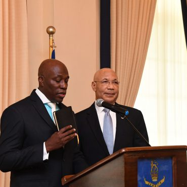 The Honourable Mr. Justice Bryan Sykes takes the Oath of Allegiance and the Judicial Oath for the Office of Chief Justice of Jamaica at a swearing-in ceremony held at King's House on February 1,2018.