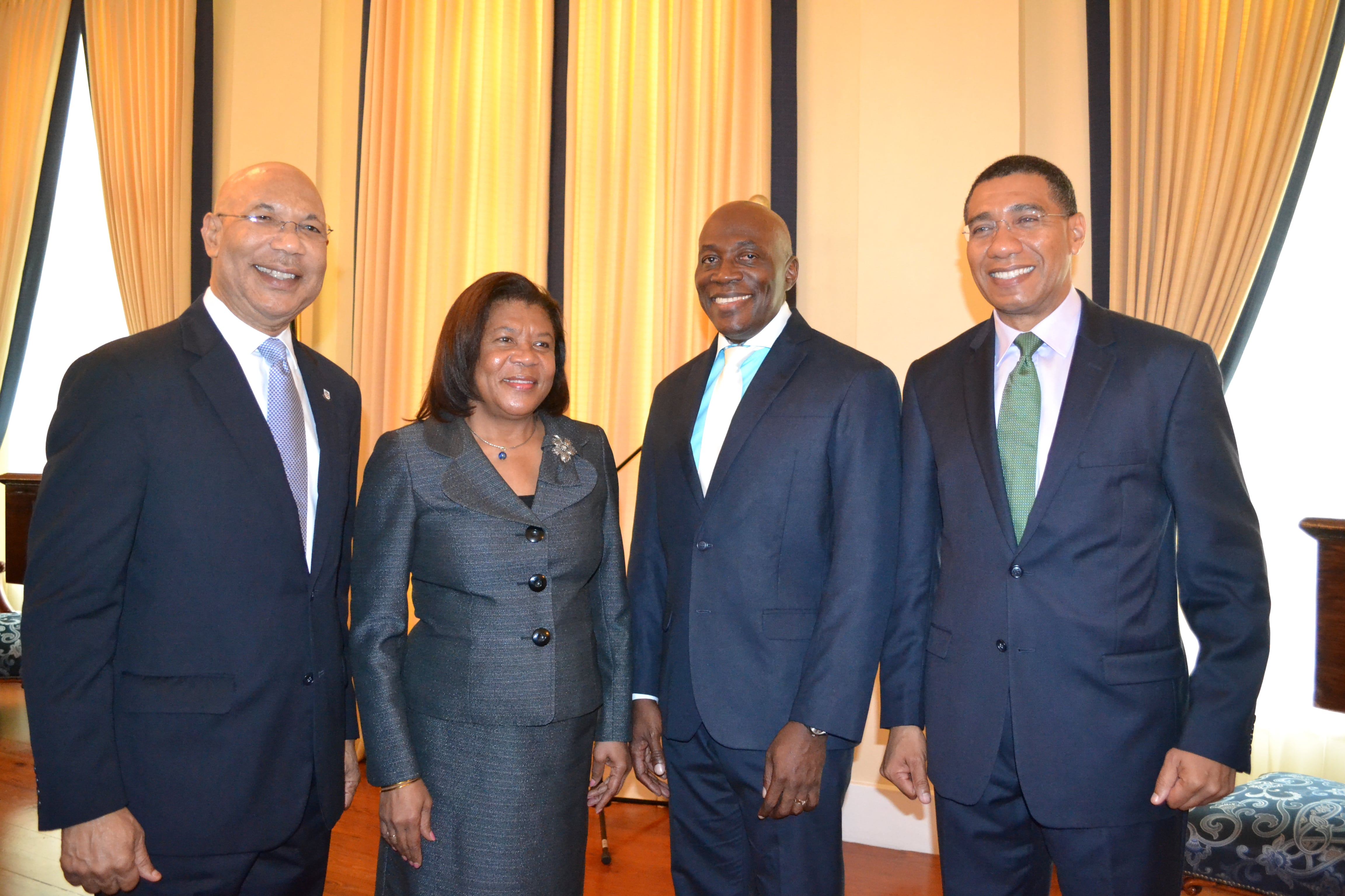 His Excellency The Governor-General (left) shares frame with Prime Minister the Most Honourable Andrew Holness (right), Honourable Mrs. Justice Zaila McCalla, outgoing Chief Justice (2nd left) and the Honourable Mr. Justice Bryan Sykes (2nd right) Acting Chief Justice.